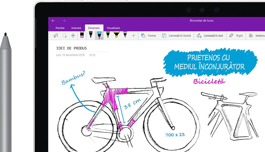 """Un creion digital schițând pe o tabletă imaginea unei biciclete denumite """"Eco-bicicleta""""."""