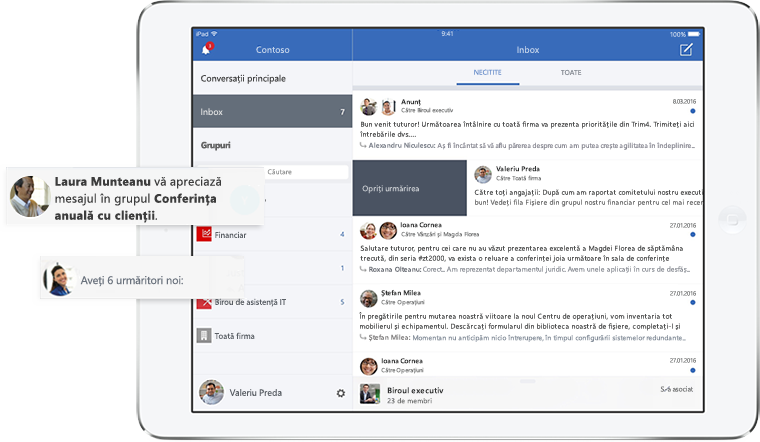Tablet computer screen displaying the Yammer inbox and notifications