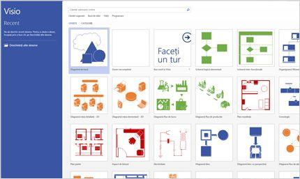 Captură de ecran a paginii Visio în Office 365.