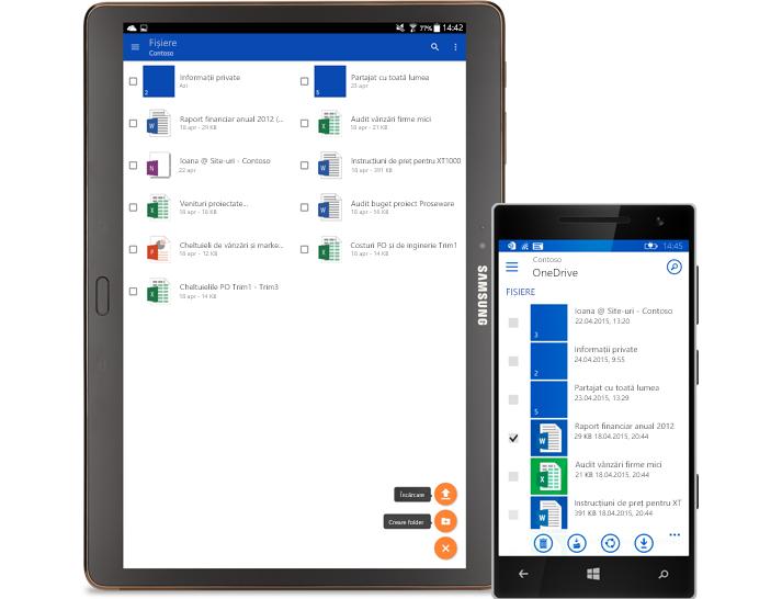 O tabletă și un smartphone care afișează o listă de documente partajate.