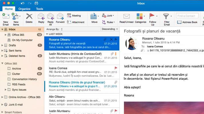 O captură de ecran cu un inbox din Microsoft Outlook 2016, cu o listă de mesaje și o previzualizare.