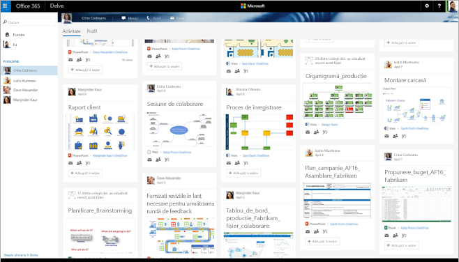 Un ecran din Office 365 care afișează persoanele relevante și diagramele Visio în Delve.