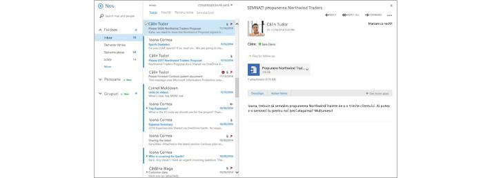 Un inbox de e-mail cu un mesaj nou care apare în panoul de previzualizare
