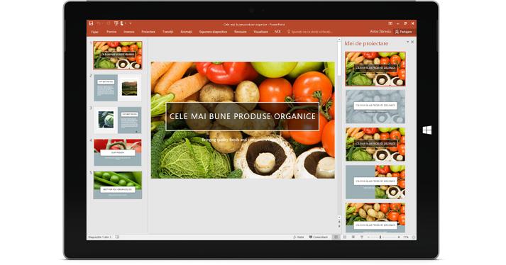 O tabletă care afișează caracteristica Designer într-un diapozitiv de prezentare PowerPoint.