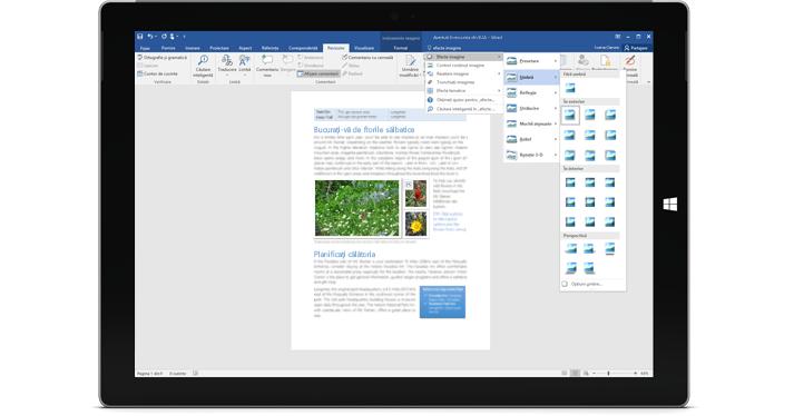 O tabletă Surface care afișează noua caracteristică Spune-mi dintr-un document Word.