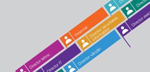 Semnalizări de colaborare pe un fundal gri, reprezentând diverse funcții și roluri de activitate