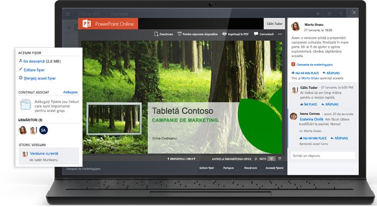 Un laptop afișând o prezentare în PowerPoint Online și o conversație Yammer în același ecran