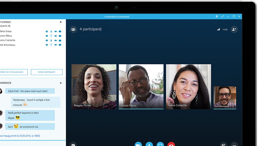 O tabletă Surface afișând o întâlnire online Skype for Business pe ecran