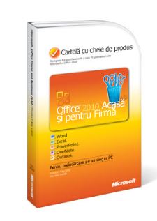 Cartela cu cheia de produs Office 2010