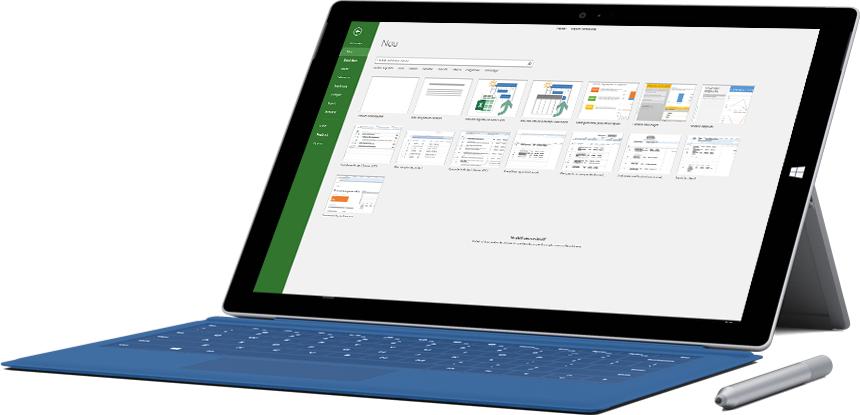 Tabletă Microsoft Surface afișând fereastra Proiect nou în Project 2016.