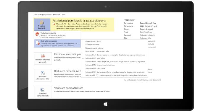 O tabletă afișând un ecran Visio cu permisiuni restricționate aplicate pentru o diagramă Visio.