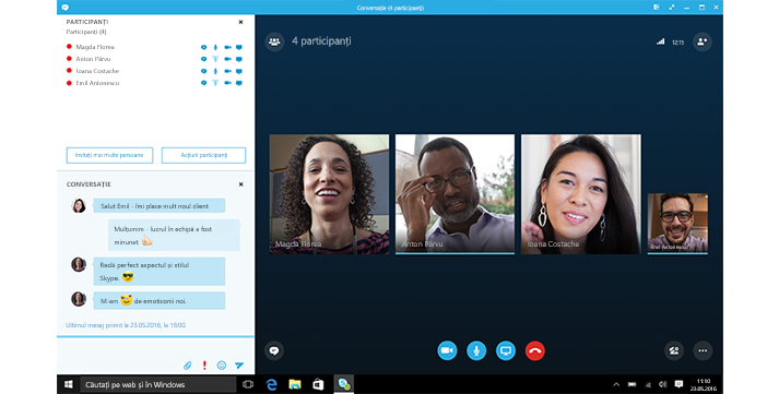 O captură de ecran a unui ecran de pornire Skype for Business cu miniaturi ale persoanelor de contact și ale opțiunilor de conectare.