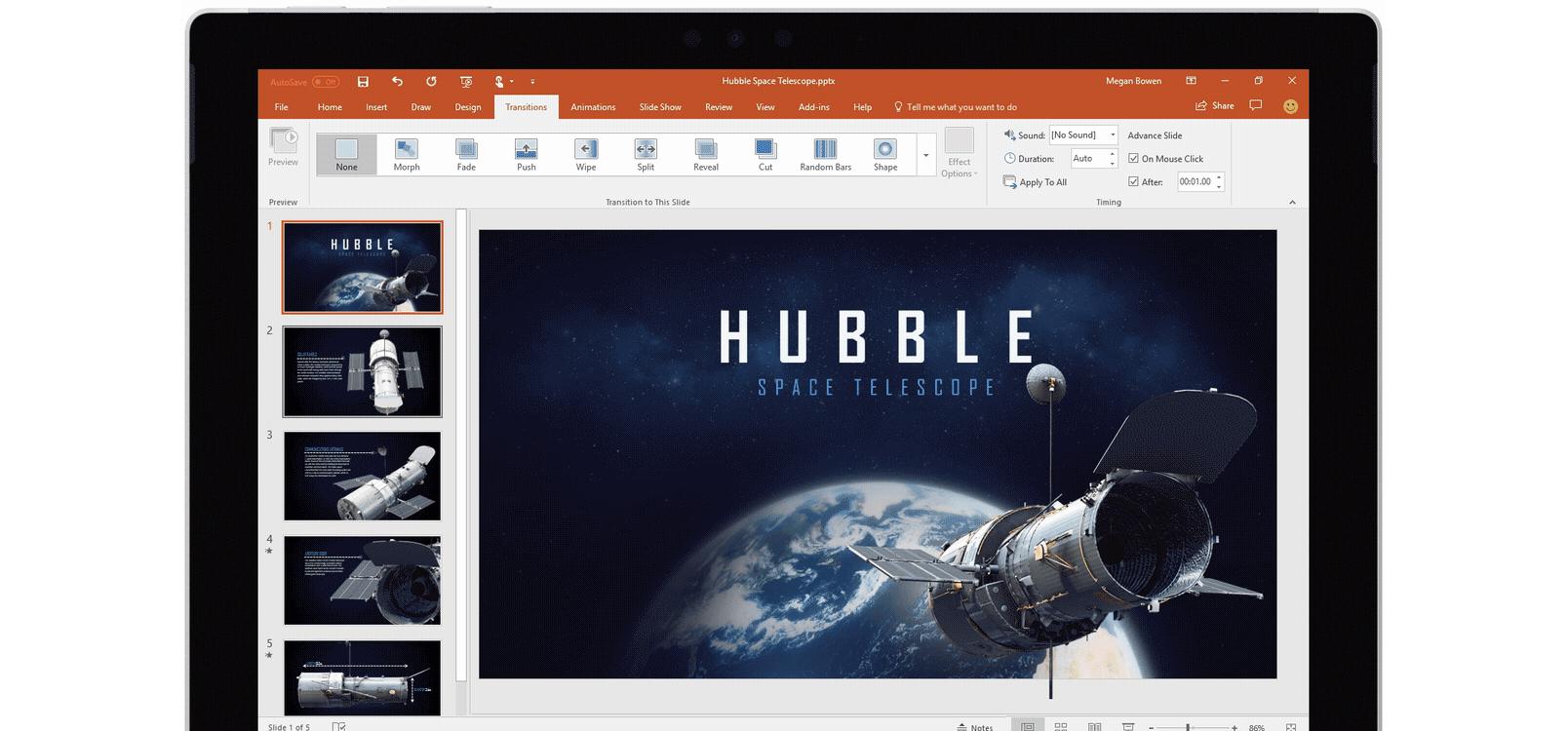 Ecran de tabletă afișând utilizarea tranziției Metamorfoză într-o prezentare PowerPoint despre telescoape spațiale