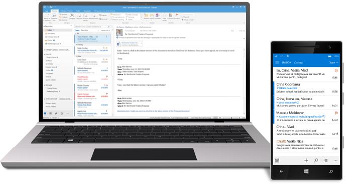 O tabletă și un smartphone care afișează un inbox de e-mail Office 365.