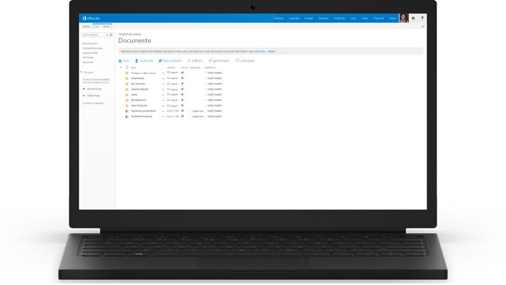 Un laptop afișând o listă de documente în OneDrive pentru Business.