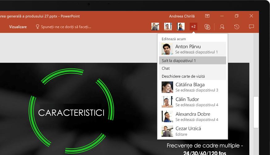 Un laptop afișând diapozitivele unei prezentări PowerPoint la care a colaborat o echipă.