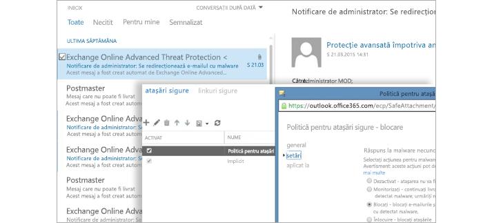 O captură de ecran cu un e-mail de notificare a unui administrator și o fereastră de politică pentru atașări sigure.
