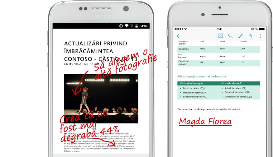 două smartphone-uri care afișează documentele și notele scrise de mână despre ele