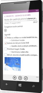 OneNote pentru Windows Phone
