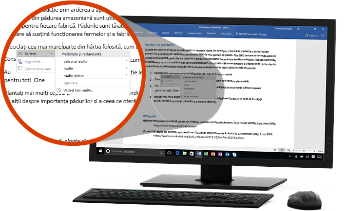 Un monitor de PC afișând un document Word cu un prim-plan al caracteristicii Editor sugerând o modificare de cuvânt într-o propoziție