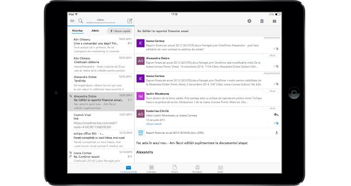 O tabletă ce afișează un inbox fără reclame cu Office 365.