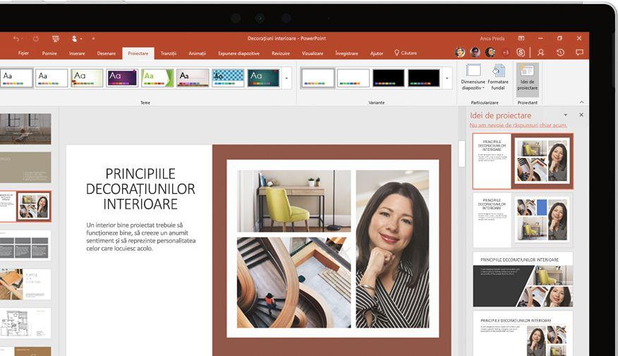 Prezentare PowerPoint afișată pe dispozitiv