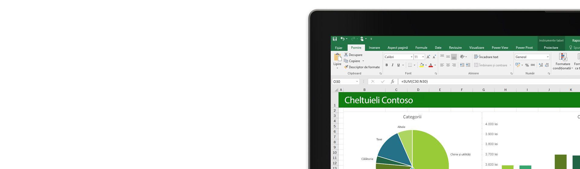 Un laptop afișând o foaie de calcul Microsoft Excel cu o diagramă.