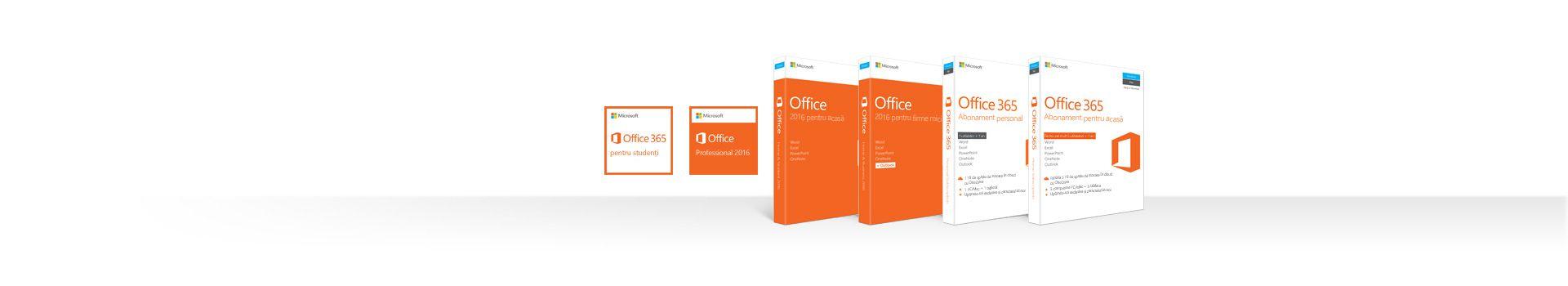 Un rând de casete de produse Office 2016 și Office 365 pentru PC