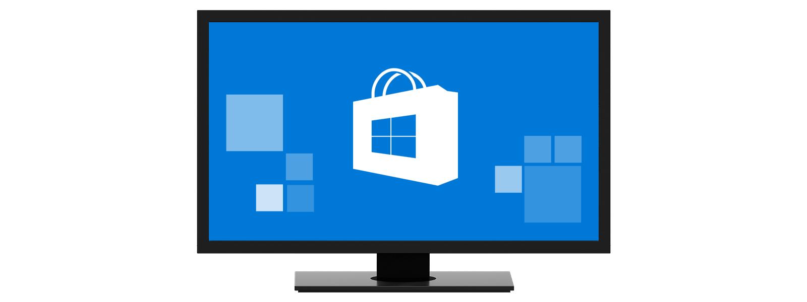 Un PC cu sigla Magazinului Microsoft pe ecran