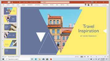 Шаблон PowerPoint отображается на экране