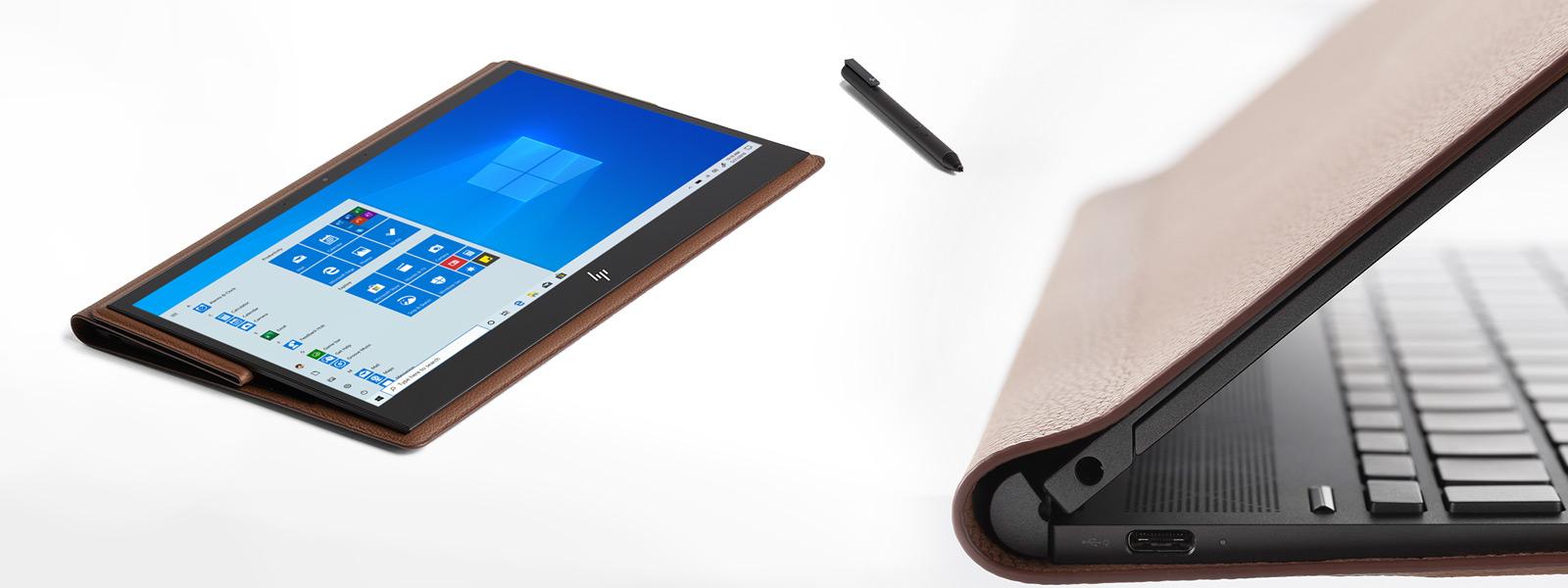 Сложенный трансформер HP Spectre Folio с открытым начальным экраном Windows 10 рядом с ручкой, а также его крупный план сбоку с видом на клавиатуру, динамик, разъемы и кожаную крышку.