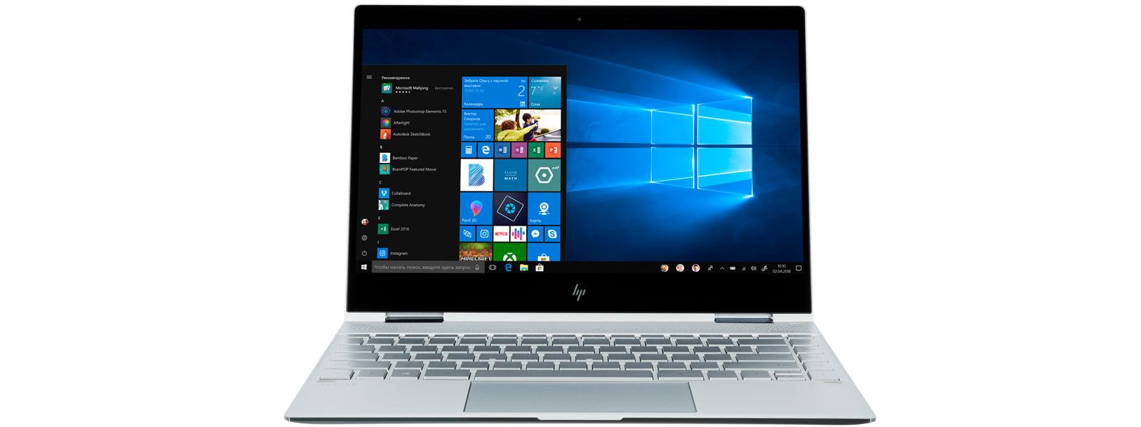 Снимок под углом справа Microsoft Surface Pro и снимок под углом слева HP Spectre x360 в режиме «палатки».