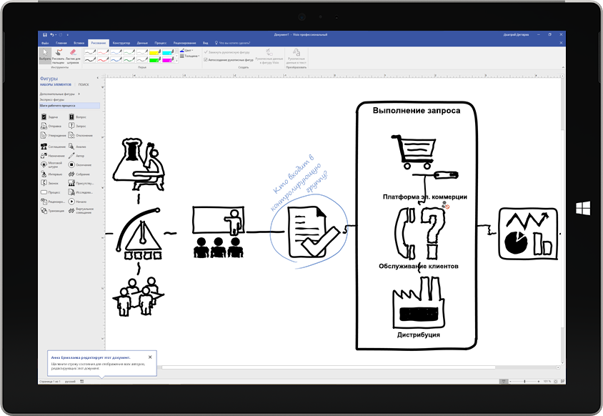 Схема процесса, нарисованная пером на экране в Visio на планшете Surface