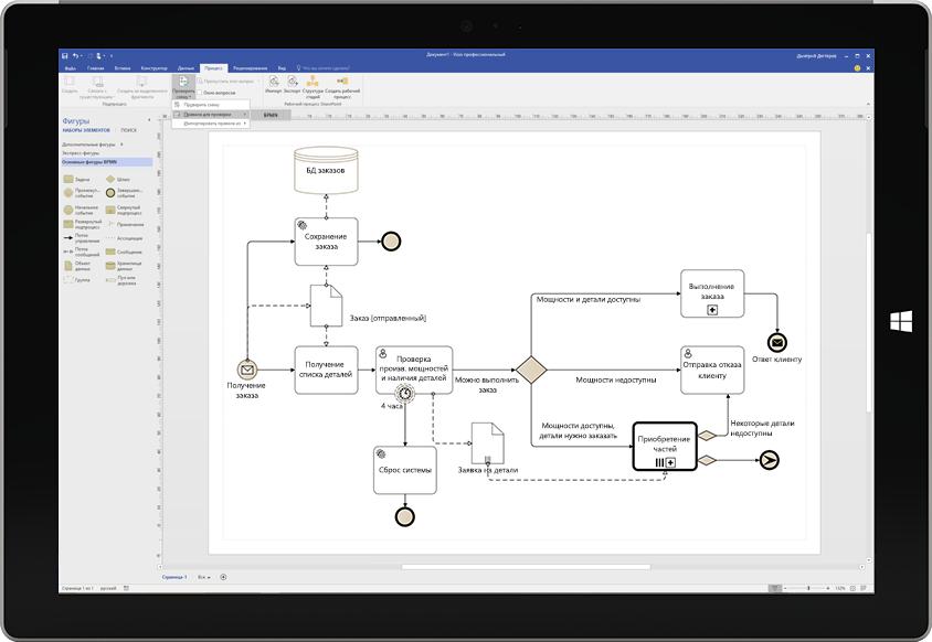 Блок-схема процесса в Visio на экране планшета Surface