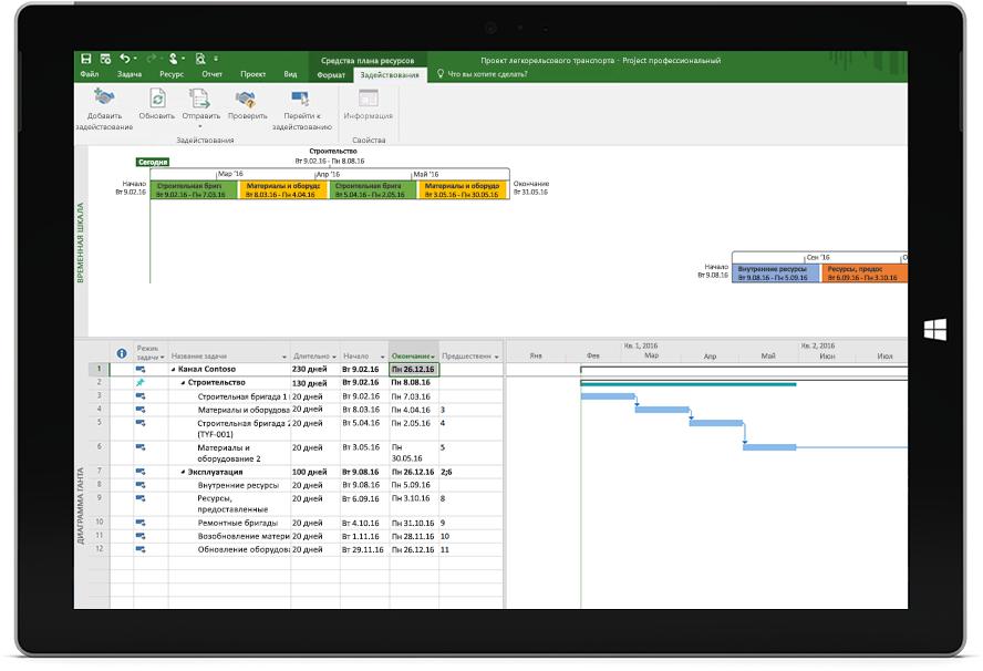 Планшет Microsoft Surface, на экране которого — файл Project с графиком и временной шкалой в приложении Project профессиональный.