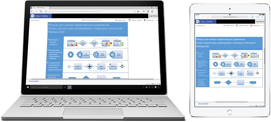 Ноутбук и планшет с блок-схемой в Visio Online