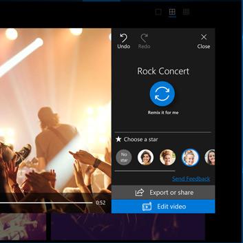 Частичное изображение окна приложения «Фотографии» Microsoft Store, показывающее возможности программы Choose a Star для создания видео