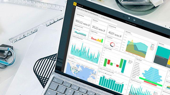 Анализ данных на уровне отдельных пользователей и всего предприятия: стол с компьютером Surface Book с интерфейсом Power BI на экране.