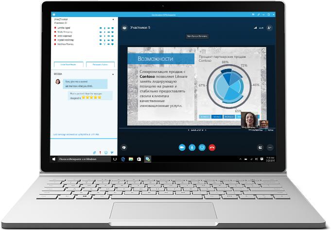 Ноутбук, демонстрирующий собрание Skype для бизнеса, с презентацией и списком участников.