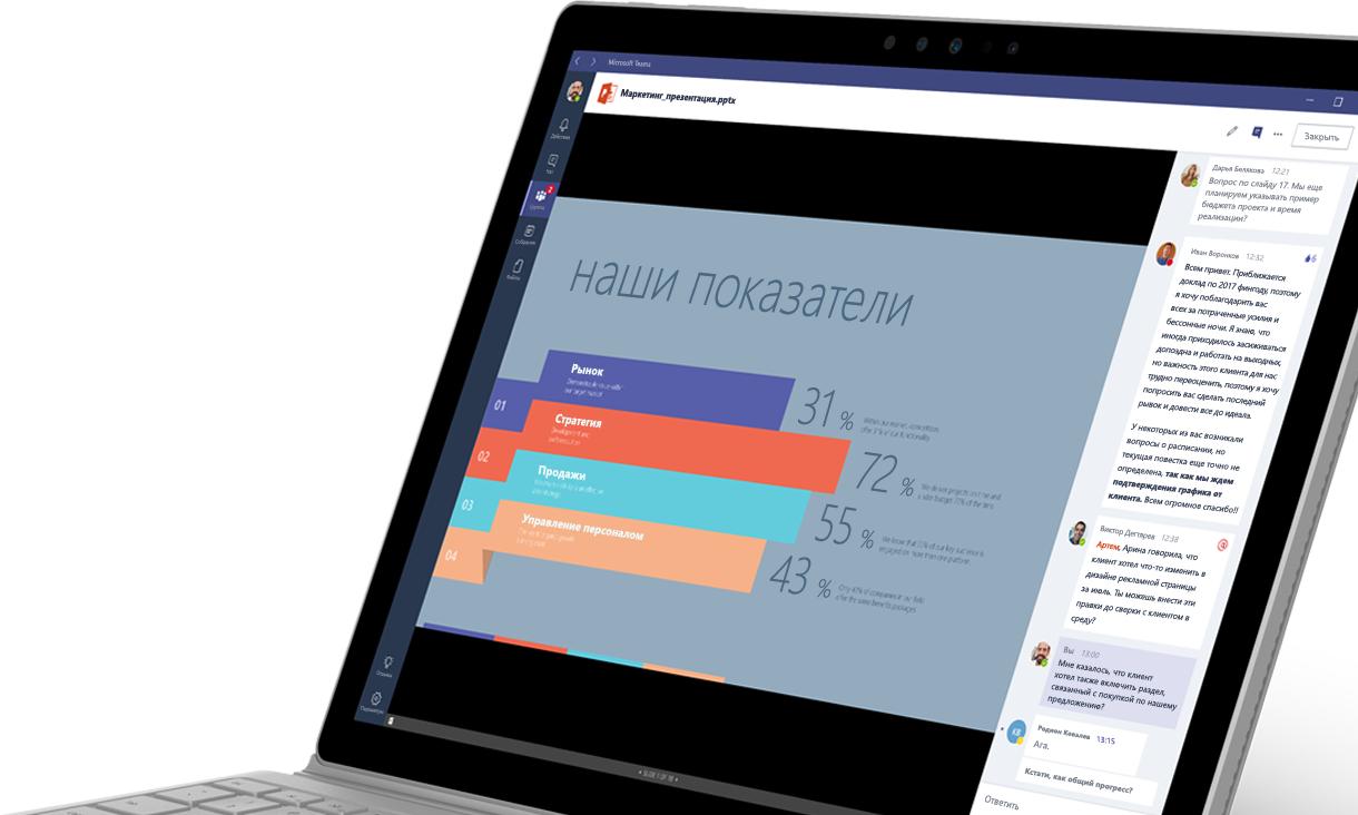 Ноутбук с окном Microsoft Teams, содержащим диаграмму и беседу