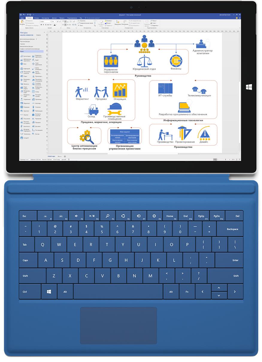 Сетевой график в Visio профессиональный на экране устройства Microsoft Surface.