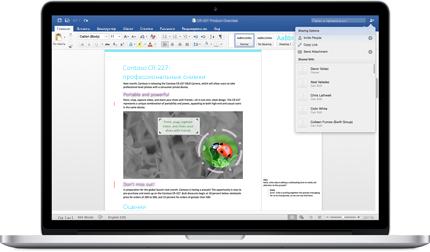 Документ Word с комментариями и меню параметров общего доступа на экране ноутбука.