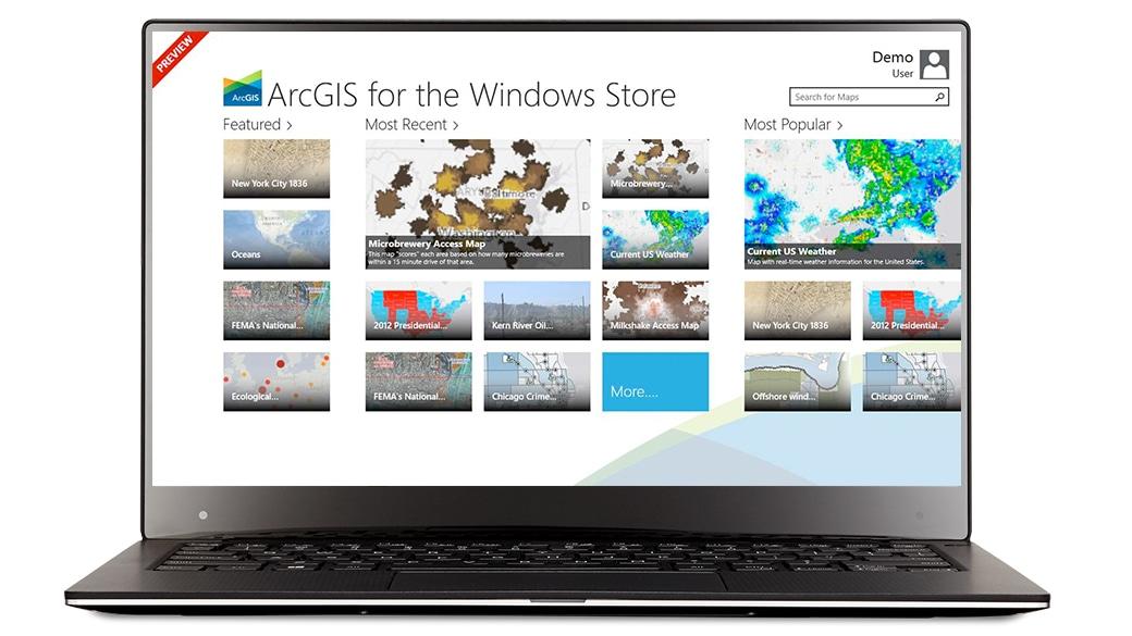 Приложение ArcGIS на экране устройства