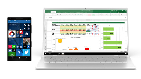 Смартфон с Windows10, содержимое экрана которого вывыедено на ноутбук