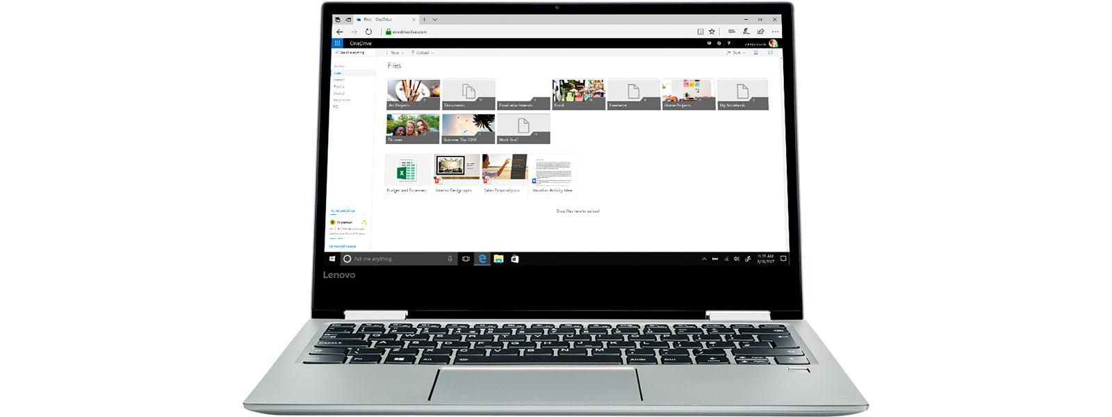 Экран OneDrive на устройстве с Windows10