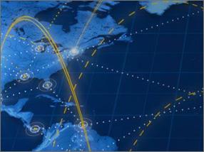Фрагмент карты с соединениями в виде пунктирных линий