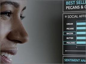 Фрагмент женского лица слева и диаграммы справа