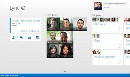 Snímka domovskej obrazovky Lyncu s miniatúrami kontaktov a možnosťami spojenia.