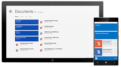 Tablet a smartfón zobrazujúce zoznam zdieľaných dokumentov.
