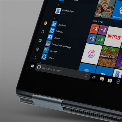 Počítač typu 2v1 so systémom Windows 10 zobrazujúci časť Domovskej obrazovky